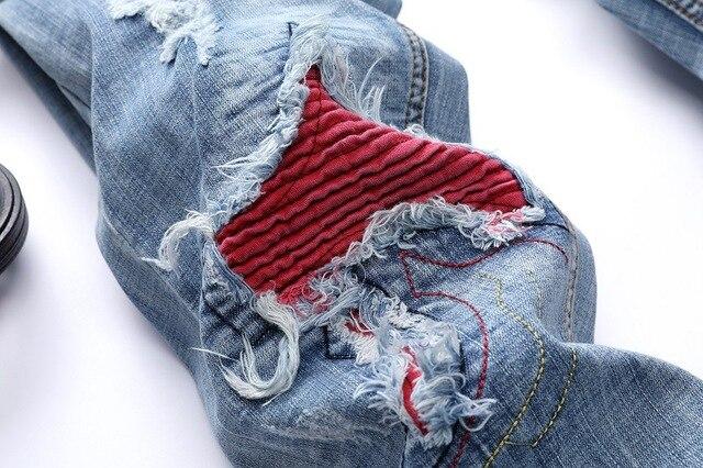 2018 nouveau hiver hommes jean Patchwork épissé déchiré Denim jean mâle droit mince Patch mendiant trou Silm pantalon jean homme 42