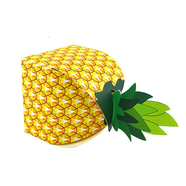 OurDecok 50Pcs Hawaiian Favors Gift Candy Boxes Paper Pineapple Gift Bag Beach Wedding Decorations Home Party Birthday Supplies
