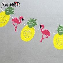 JOY-ENLIFE 1set Felt Flamingo Pineapple garland  bunting banner kids room decoration baby shower birthday party garden decor