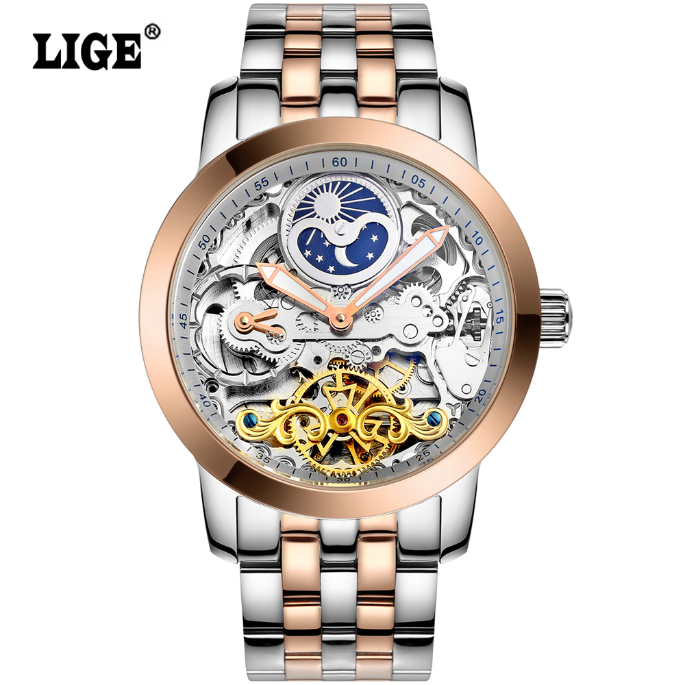 LIGE Mens High Quality Tourbillon Automatic mechanical font b Watches b font Men Top Brand Luxury
