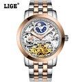 LIGE Mens Tourbillon Automatic Relógios mecânicos Homens Marca de Topo de Alta Qualidade Luxo Dive 50 M Homem de Negócio do relógio em aço completo Clcok