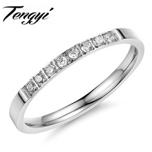 Fashion Full Crystal Ring stainless steel  wedding ring  Made with Genuine Austrian Crystals Full for woman TY412
