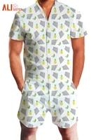 Fashion Pineapple Fruit Floral Print Rompers 2019 Summer Men's Short Sleeve V Neck Jumpsuit Men Paysuit Casual Beach Overalls