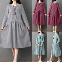 плюс размеры для женщин с длинным рукавом твердые швы хлопок и лен свободные длинное платье для женщин винтаж платье 2018 новое поступление осень qx40