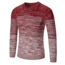 2017 New Autumn Winter Mulitisizes Men Loose Sweater Casual Round Neck Simple Knitted Stitching Color Long Sleeve Pullovers