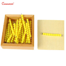 Math Exercises Yellow Beads Chains Wooden Box Professional Montessori Student Teaching Number Educational Toys Children MA039-3