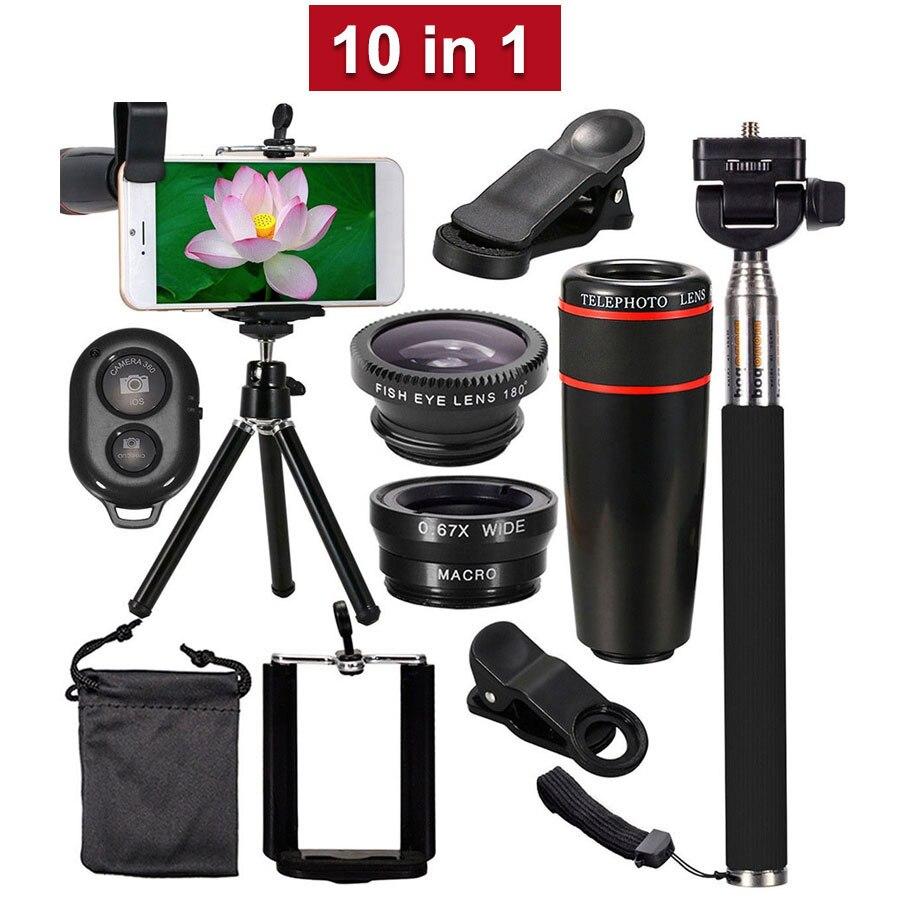 10 in 1 Phone Camera Lens Kit 8X 12X Telephoto Telescope Lens Fisheye Macro Wide Angle Lenses Selfie Stick Tripod For Smartphone|Mobile Phone Lens| |  - title=