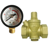 DN20 3/4 Brass Water Pressure Reducing Maintaining Valves Regulator Adjustable Relief Valves With Gauge Meter