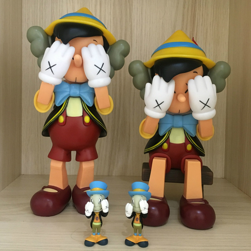 Hot Sell OriginaFake Kaws Companion Pinocchio&Jiminy Cricket Stand/Sit PVC Anime Action Figures With Box Creative Gift L342 hot selling 38cm originafake kaws companion astro boy high quality action collection