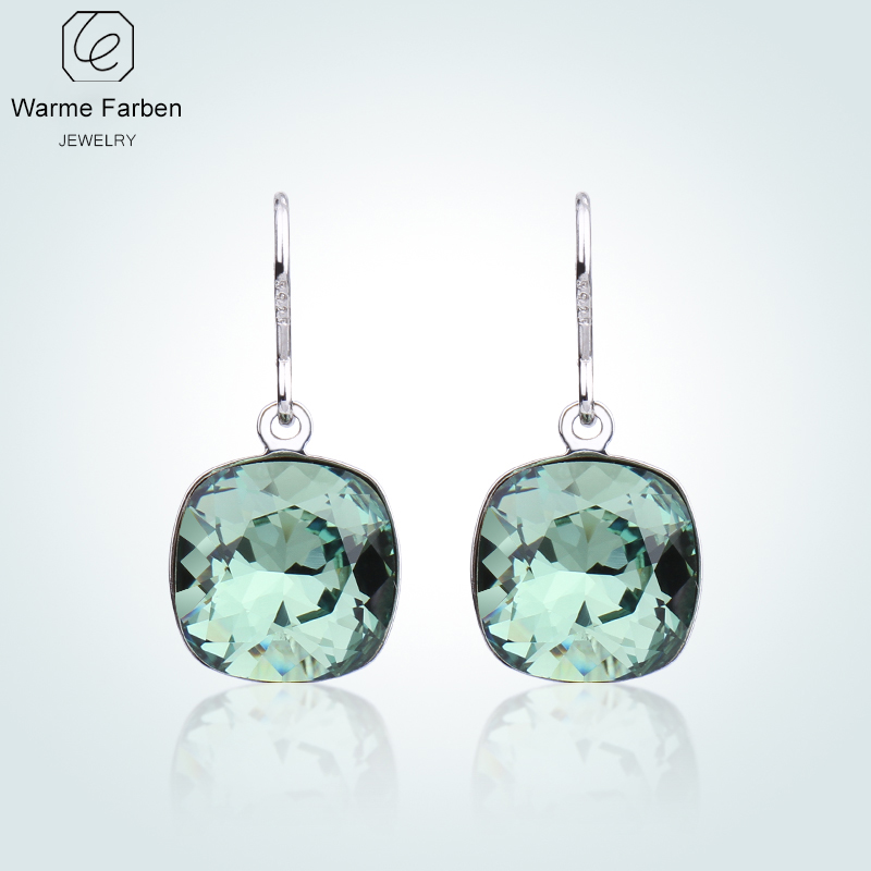 Warme Farben Swarovski Crystal From Silver Drop Earrings Women Elegant Square Classic Earrings Jewelry Brincos Gifts for Ladies pair of classic faux crystal tassels earrings for women