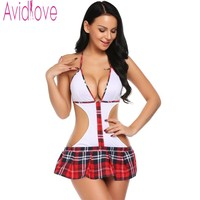 Avidlove Hot Cosplay Student Uniforms Sexy Babydoll Lingerie Sexy Hot Erotic Underwear Sex Products Toy Sexy