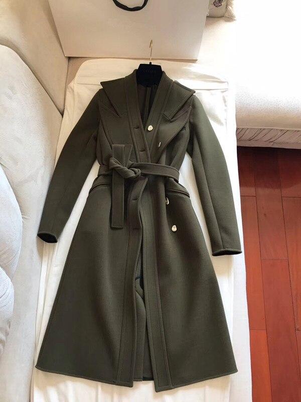 Femme Dames Cachemire Laine Twee Green 2018 Manteau Survêtement Army D'hiver d4W5dq