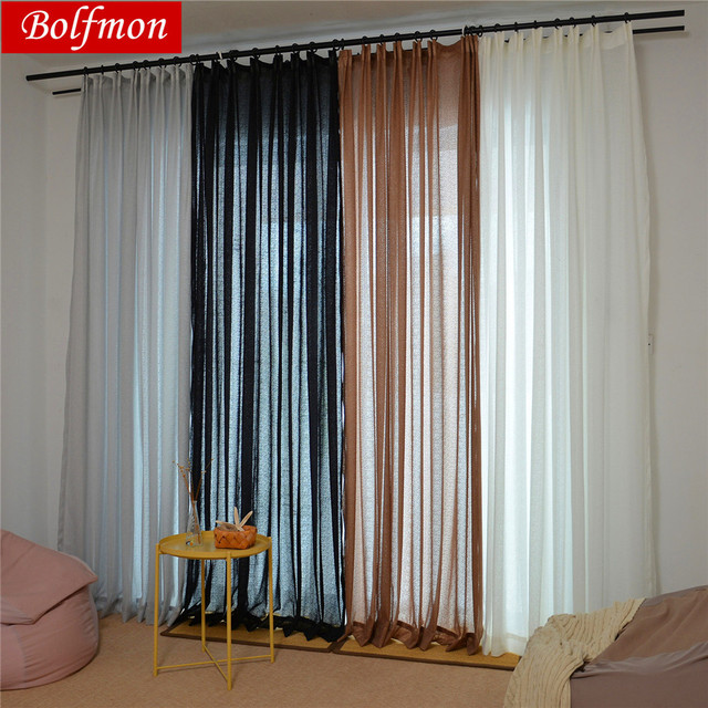 Us 872 25 Offthicken 4 Colors Elegant Solid Black White Tulle Sheer Curtain For Bedroom Screen Living Room Window Decor Balcony Salon Draps In