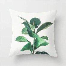 Тропические растения Чехлы для подушки 45x45см Зеленые листья Печатный лист Наволочка Полиэстер