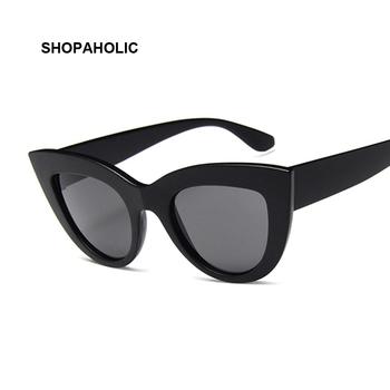 Nowe okulary Cat Eye okulary przeciwsłoneczne damskie kolorowe soczewki w kształcie Vintage okulary przeciwsłoneczne okulary damskie niebieskie okulary marka projektant tanie i dobre opinie SHOPAHOLIC Kobiety Z tworzywa sztucznego Lustro Antyrefleksyjną UV400 Dla dorosłych Poliwęglan 63mm 52mm