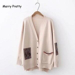 Image 2 - Frohe Ziemlich Mori Mädchen Pullover Frauen Kleidung Herbst Winter Voll Sleeved V ausschnitt Stickerei Vintage Weiblichen Lange Pullover Strickjacken