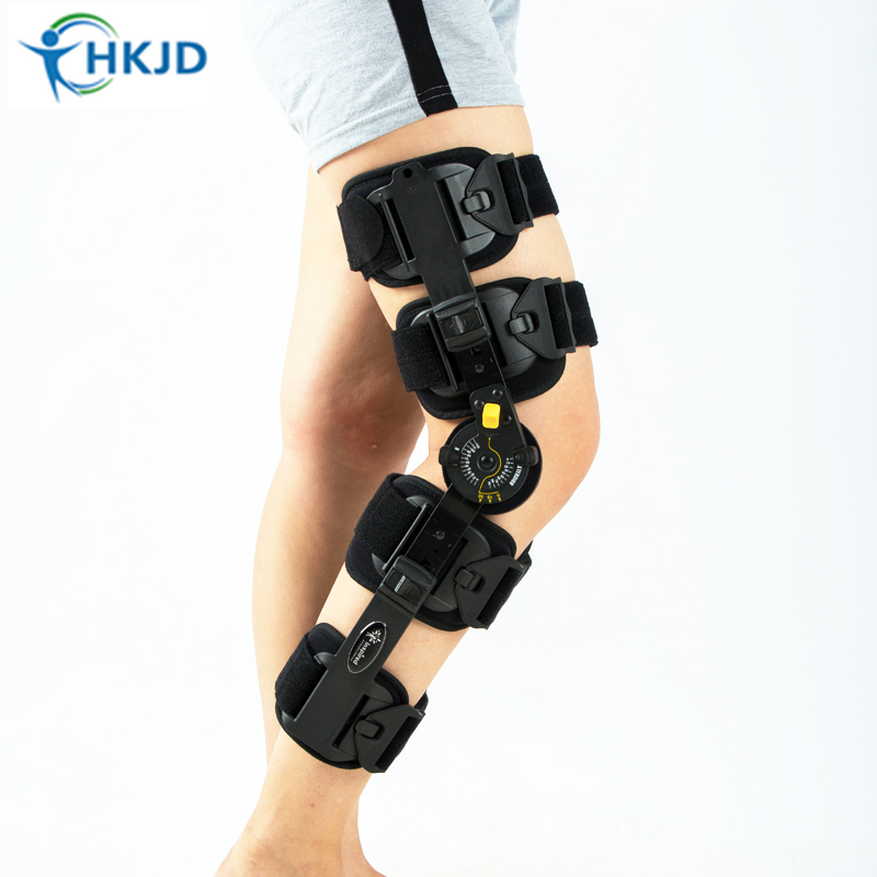 Adult Adjustable Knee Orthosis Knee Support With Bilateral Hinges Medical Articulated Knee Brace Patella Compression Kneepad knee patella sport support guard pad protector brace strap stabilizer protection white