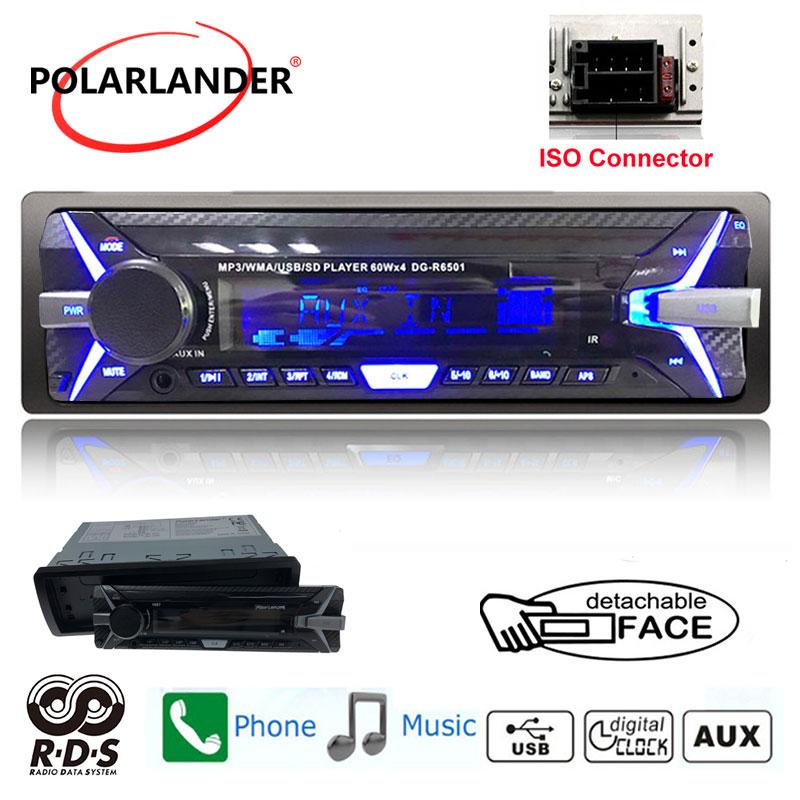 1 DIN 12V FM Radio SD//USB//AUX Car Stereo  Bluetooth Remote MP3 Player Detachable