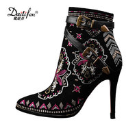 Daitifen 2018 Sexy Cow Suede Floral Embroidery Thin High Heels Woman Ankle Boots Pointed Toe Fall