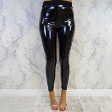 Bottoms Fitness Exercise Pants Women Lady Strethcy Shiny PU