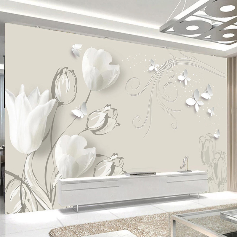 3D Wallpaper Modern Fashion Tulip Butterfly Photo Wall Murals Living Room Bedroom Home Decor Self-Adhesive Waterproof Canvas 3 D