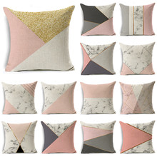 WZH Marble Texture Geometric Design Cushion Cover 45x45cm Linen Decorative Pillow Cover Sofa Bed Pillow Case(China)