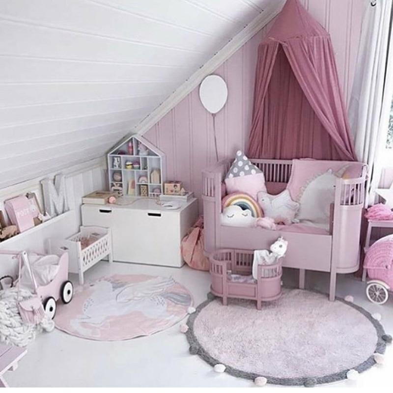 120cm Thick Fleece Pom Pom Kids Room Decoration Plush Play Mat Rug Anti slip Big Round