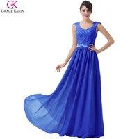Grace Karin Dresses Purple Royal Blue Gray Evening Dresses Long Abendkleider 2016 Lace Crochet Prom Party
