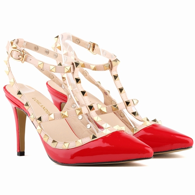 Free shipping punk rivet women sandals new Fashion high heels Mulher sandals women size 35-42 sandalias feminino 952-3PA
