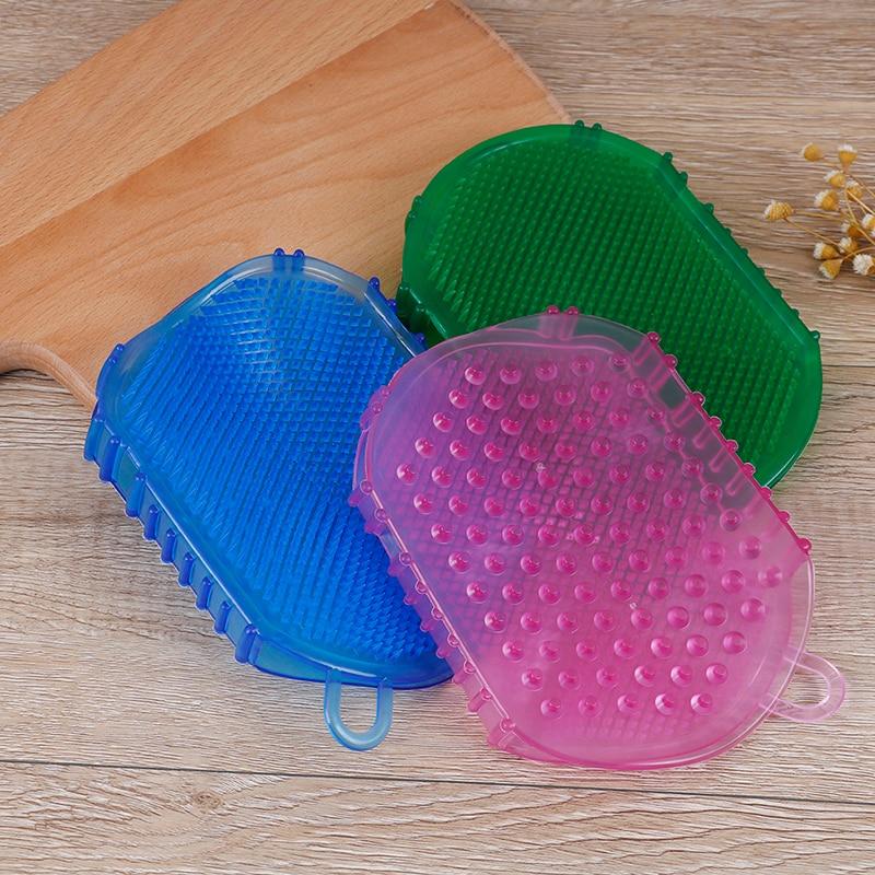 1шт силикон массаж скраб перчатки для пилинга тела ванна щетка отшелушивающий перчатки 3 цвета