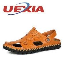 Летние сандалии мужские уличные дышащие тапочки из искусственной кожи мужская обувь повседневные пляжные сандалии для мужчин обувь без шнуровки шлепанцы Zapatos