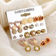 Elegant 9 Pairs/Set Women's Pearl Flower Crystal Studs Earrings Girls Elegant Rose Flower Heart Ear Jewelry Gift
