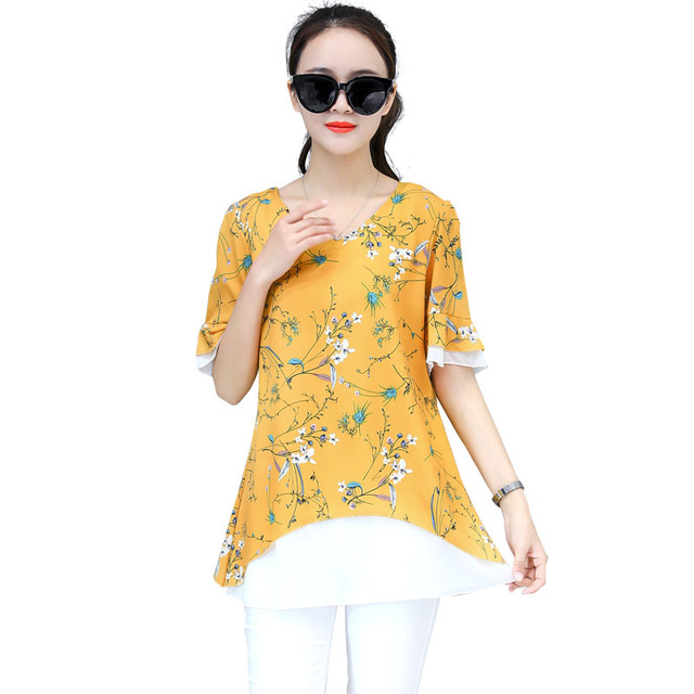 Women Spring Summer Style Chiffon Blouses Shirts Double layer Short Sleeve Floral Printed O-Neck Blusas Tops Feminina DD1619