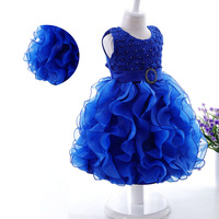 Summer Lace Girls Wedding Tutu Dress Champagne Kids Gowns Birthday Party Dresses Frock Designs Flowers Costumes