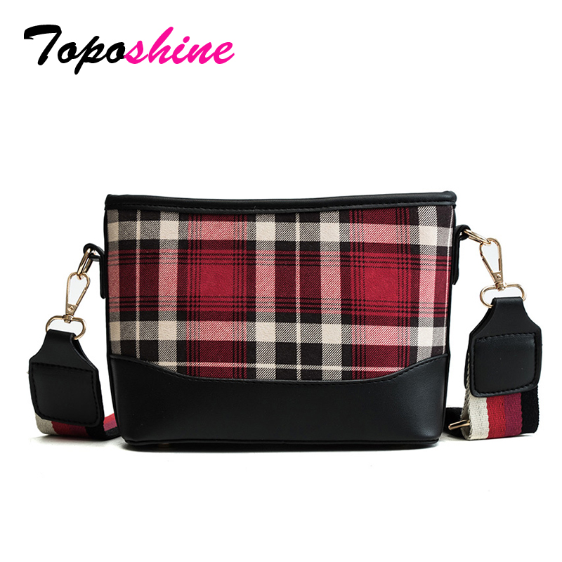 Toposhine Autumn New Brand Vintage Plaid PU Leather Women Shoulder Bag Fashion Korean Style Zipper Girl Handbag Casual Lady Bags women s korean style leather zipper buckle scrub bag fashion casual horizontal bag leather shoulder diagonal bag