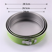3pcs Lot Circular Springform Chiffon Cake Baking Pan Set Deep Non Stick Loose Base Metal Steel