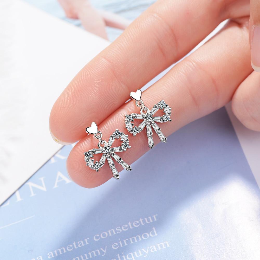 Anenjery Charm Exquisite Aaaaa Zircon Bow-knot Earrings Two Colors 925 Sterling Silver Earrings Women Girl Gift Oorbellen S-e778 Jewelry & Accessories Earrings