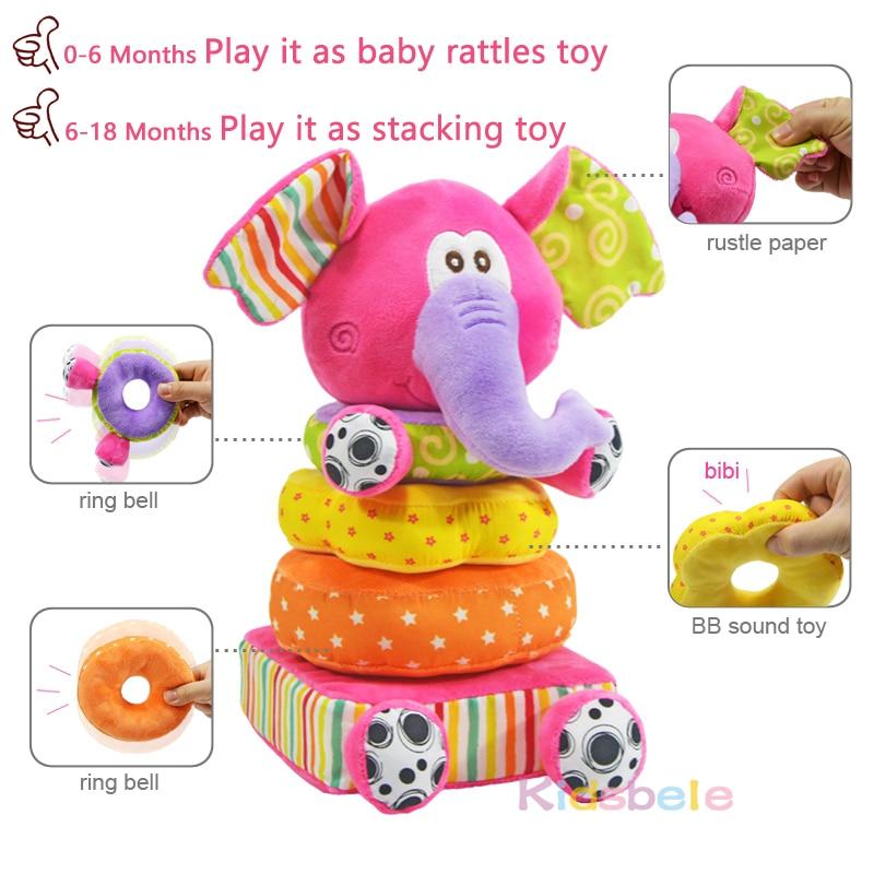 Speelgoed Voor Pasgeboren Kinderen Educatief Baby Speelgoed Zachte Pluche Mobiele Rammelaars Speelgoed Kidsbele Olifant Stapelen Baby Speelgoed Tafelbel 1