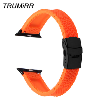 Silicone Rubber Watchband for iWatch Apple Watch 38mm 40mm 42mm 44mm Band Series 5 4 3 2 1 Steel Safety Clasp Strap Bracelet