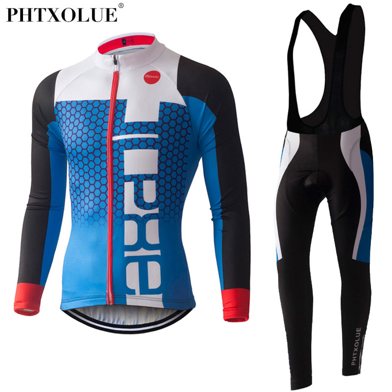 PHTXOLUE Long Sleeve Cycling Jersey Set Spring MTB Bike Wear Cycling Clothes Bicycle Clothing Ropa Maillot