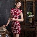 Estilo Folk Retro Cheongsam das Mulheres 2016 Novo Verão Fino Vestido Curto Estilo Chinês Tradicional Estilo Chinês Tradicional CS35