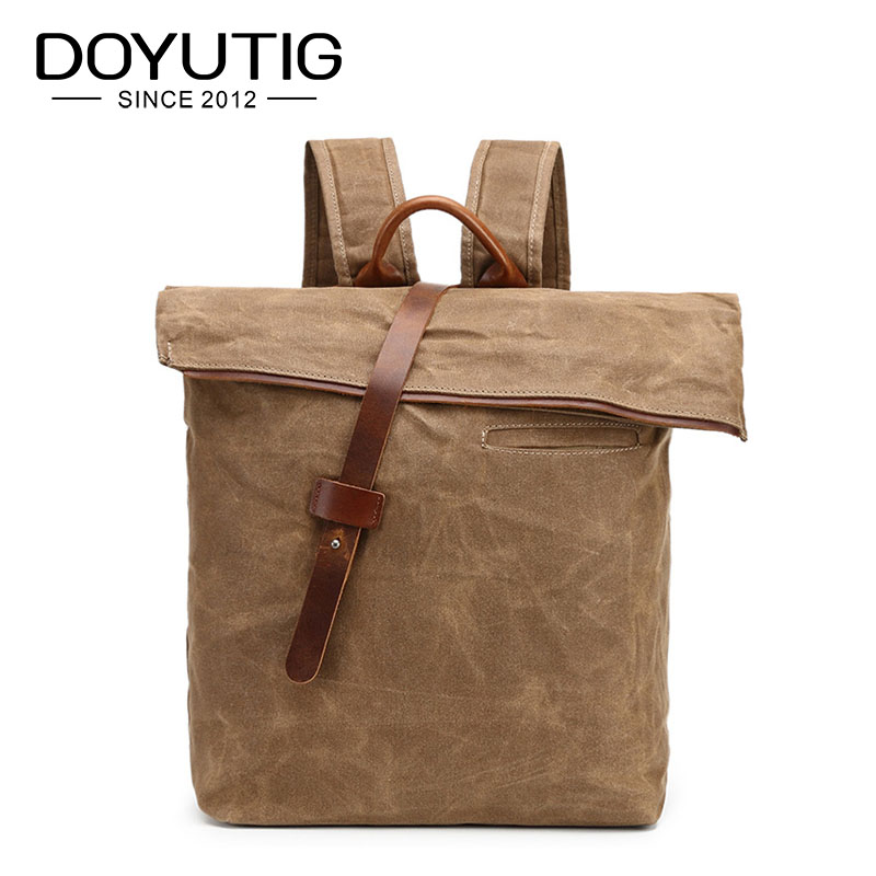High Quality Men Canvas Backpacks Solid Men's Travel Bags Canvas Bag Of European Style Male Casual Double Shoulder Bags H013 dmt10768t080