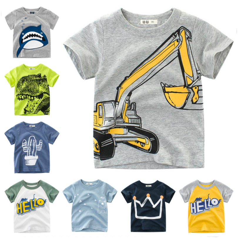Cotton Boys T Shirt Excavator Summer 2019 Cartoon Frog Printed Short Sleeve T-Shirt For Kids Boys Tee Shirt Dinosaur Tops(China)