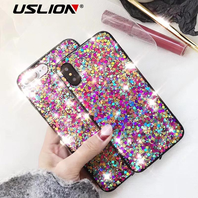 USLION Colorful Bling Glitter Phone Cases Soft TPU Phone Case For iPhone X 8 7 6 6s Plus Back Cover Case Capa Fundas