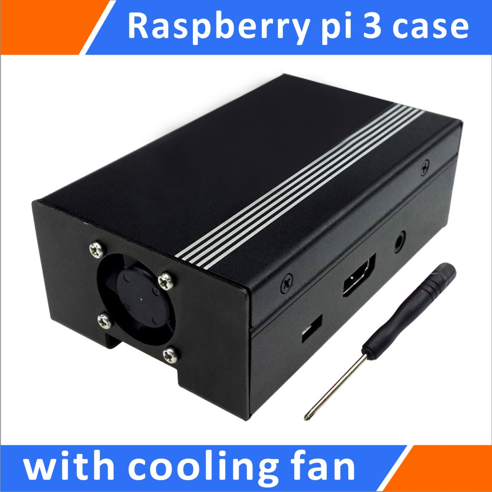 Raspberry Pi Metal Case with Cooling Fan Black