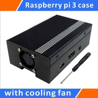 Raspberry Pi 3 Metal Case With Cooling Fan Black