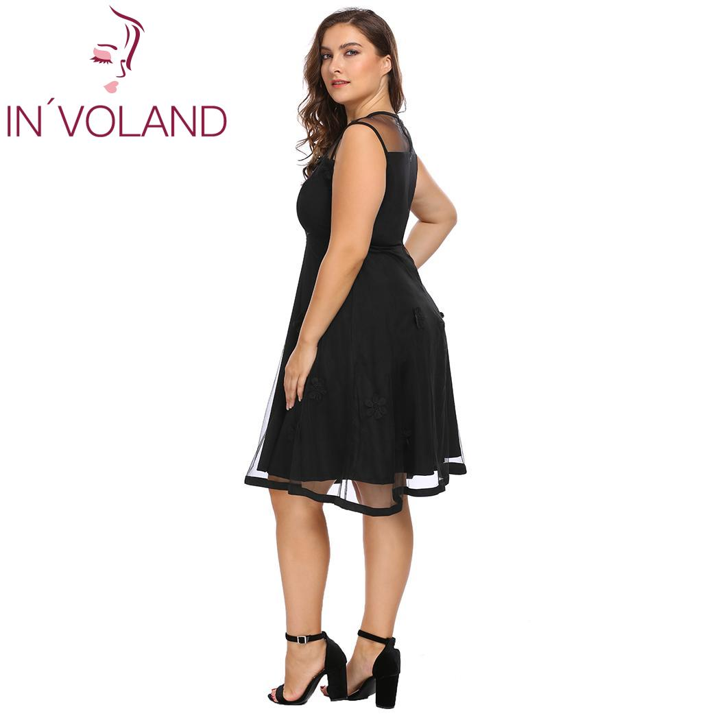 f19433b3e0c00 US $19.88 40% OFF|IN'VOLAND Plus Size L 4XL Women Dress Elegant Sleeveless  Mesh Patchwork Flower Fit and Flare Party Dresses Vestiods Big Size-in ...