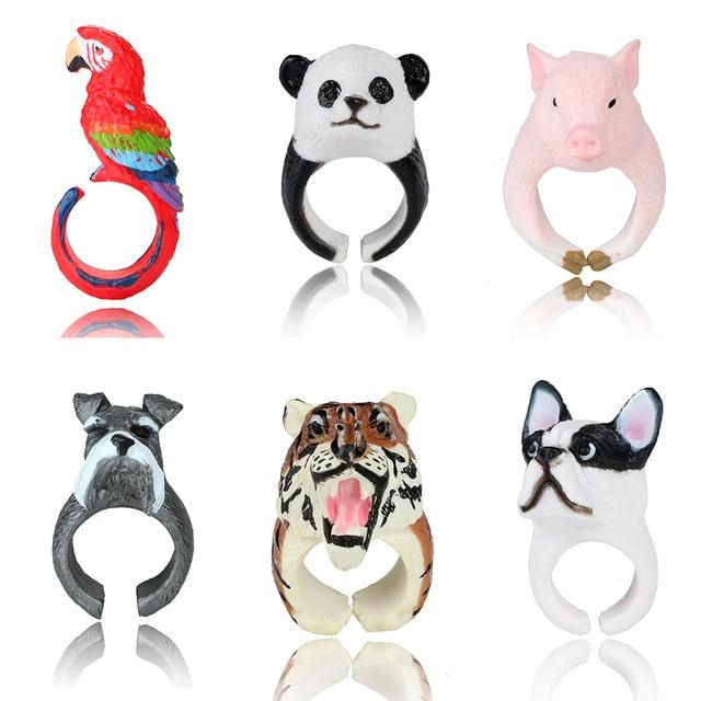 docona Lovely 3D Animal Rings Cute Pig Panda Dog Tiger Parrot Finger Rings for W