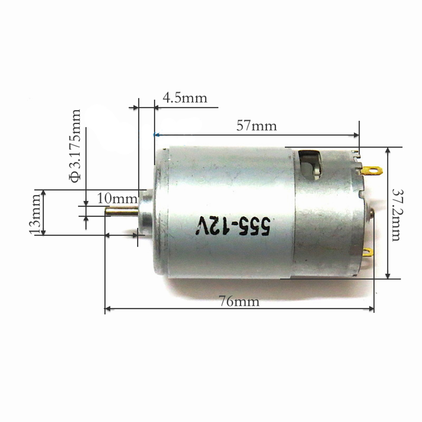 <font><b>555</b></font> DC Motor <font><b>RS</b></font>-<font><b>555</b></font> Permanent Magnet DC Motor High Torque DC 12V 3550rpm Motor with Inner Fan, 330gf.cm, Shaft Dia 3.175mm image