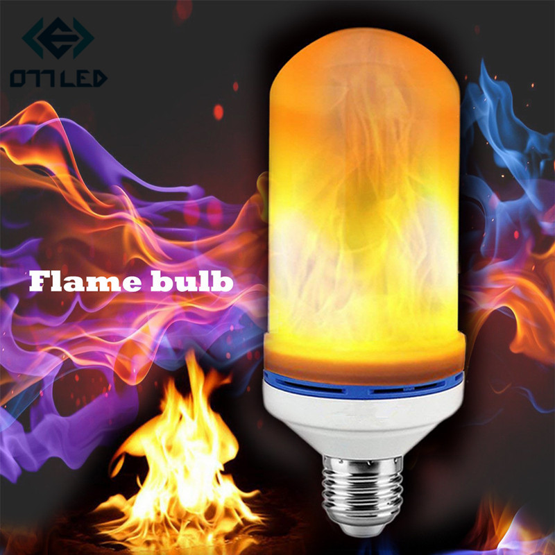 E27 2835 LED Flame Effect Fire Light Bulbs Creative Lights Flickering Emulation Vintage Atmosphere Decorative Lamp New 3 Mode